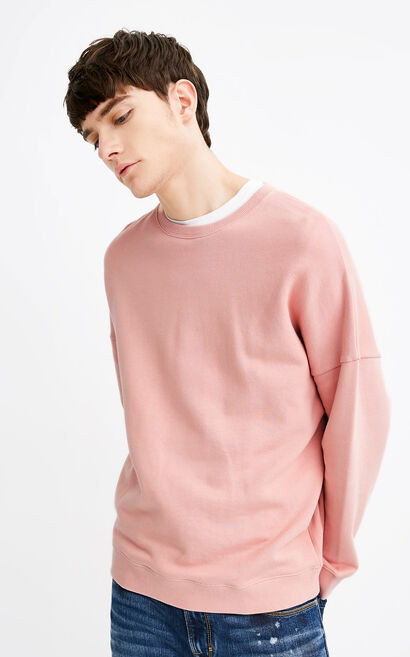 JackJones Men's 100% Cotton Embroidered Knitted Sweatshirt C|218133512, Pink, large