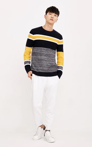 MLMR Men's Autumn 100% Cotton Contrasting Splice Knitted Sweater |218324518