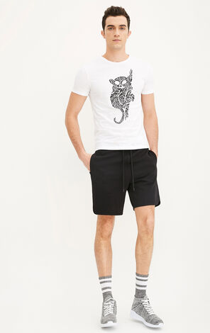 JackJones Men's Spring & Summer Slim Fit Animal Print Round Neckline Short-sleeved T-shirt E|217201535