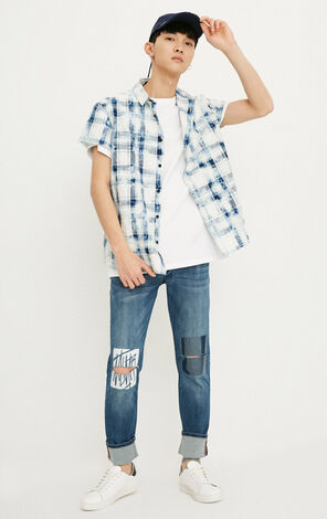 MLMR Men's Cotton Loose Fit Plaid Short-sleeved Pointed Collar Shirt M|218204501