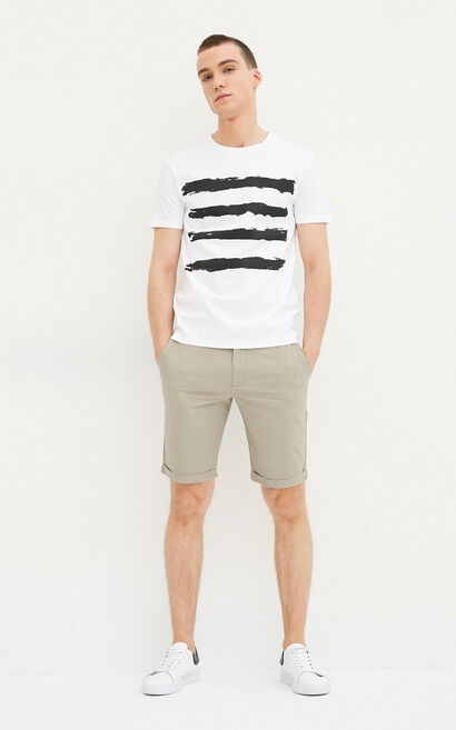JackJones Men's Spring & Summer 100% Cotton Stripe Print Round Neckline Short-sleeved T-shirt E|217201525, White, large