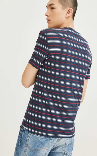 JackJones Men's Spring 100% Cotton Slim Fit Striped Short-sleeved T-shirt|217101516, Blue, large