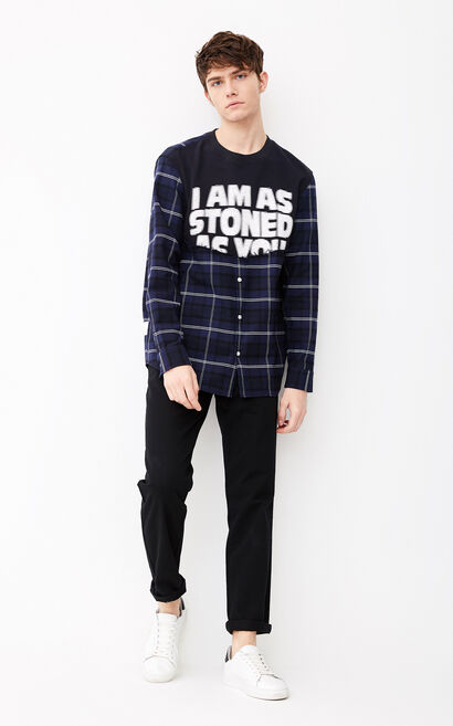 MLMR Men's Fake Two Pieces Loose Fit Long-sleeved Round Neckline Plaid Shirt M|218105513, Black, large