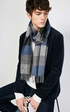 JackJones Men's Autumn 100% Wool Checked Fringed Long Scarf E|217488503
