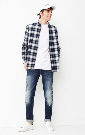 JACK JONES MEN'S PROCESS LONG-SLEEVED SHIRT (OVERSIZED FIT) | 218105506