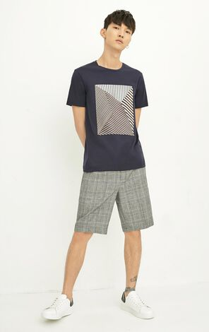 JackJones Men's Summer Checked Elastic Waist Cotton and Linen Knee-high Shorts E|| 218315502