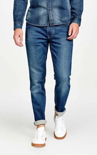 JackJones Men's Summer CoolMax High Stretch Slim Fit Tight-leg Jeans JC|217332563, Blue, large