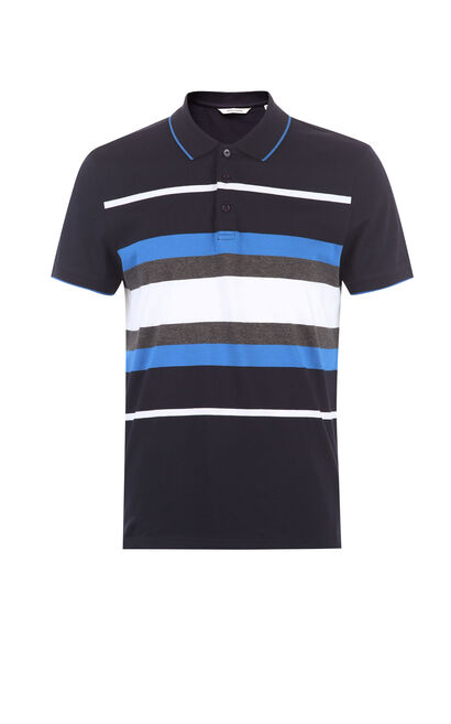JackJones Men's Spring 100% Cotton Stripe Pattern Slim Fit Turn-down Collar T-shirt|217206501, Blue, large