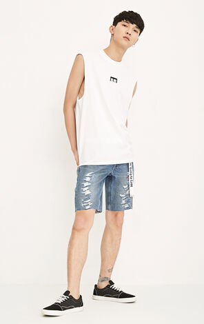 JackJones Men's Summer Stretch Cotton Embroidered Letters Sleeveless T-shirt MLMR|218201526