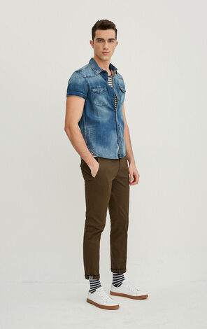 JackJones Men's Summer Slim Fit Pointed Collar Short-sleeved Denim Shirt O|217204501