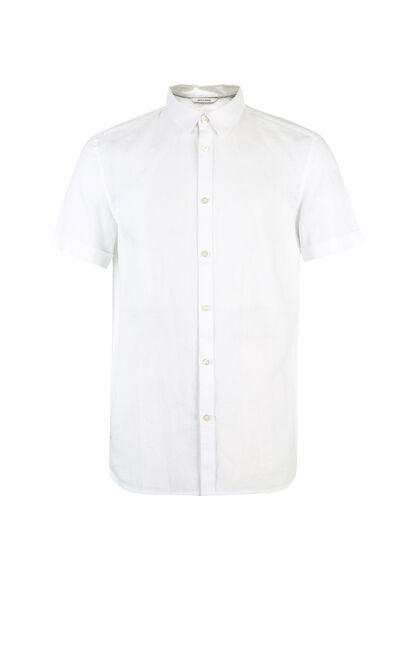 JackJones Men's Spring & Summer Linen Pure Color Turn-down Collar Short-sleeved Shirt E|217204520, White, large