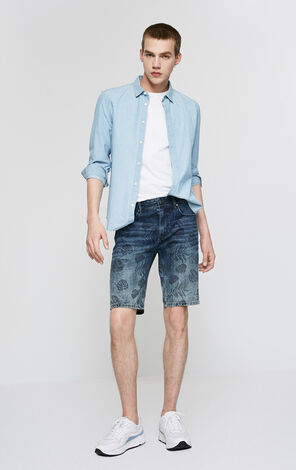 Slim Fit Whiskering Tropical Print Denim Shorts