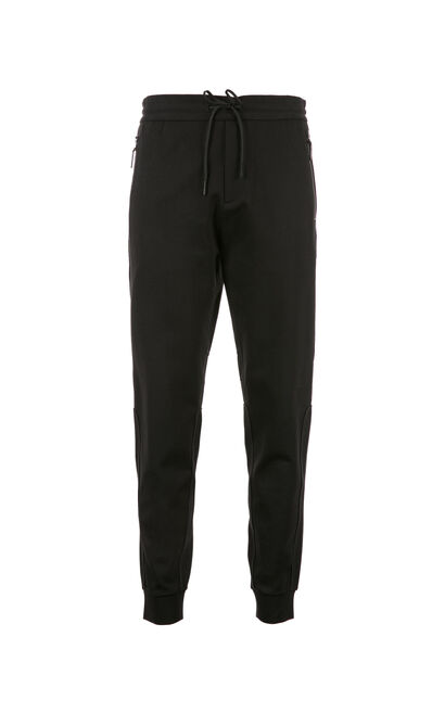 JackJones Men's Pure Color Elasticized Waist Spliced Cuffs Casual Pants C|218114519, Black, large