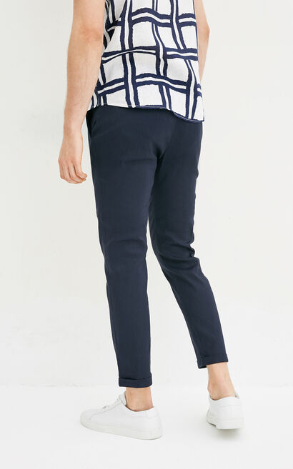 JackJones Men's Spring & Summer Linen Slightly Stretch Colored Roll-up Pants E|217214520, Dark blue, large