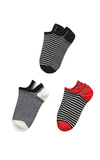 JackJones Men's Spring Stretch Striped 3-pack Knee-high Cotton Socks E|21711Q504, Black, large