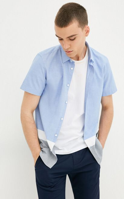 E DUNNO SHIRT S/S(SLIM FIT), Blue Gray, large
