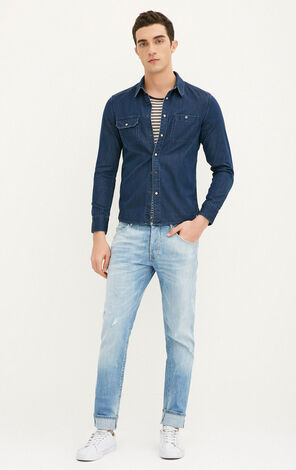 JackJones Men's Spring Slim Fit Cotton Pointed Collar Long-sleeved Denim Shirt|217105519