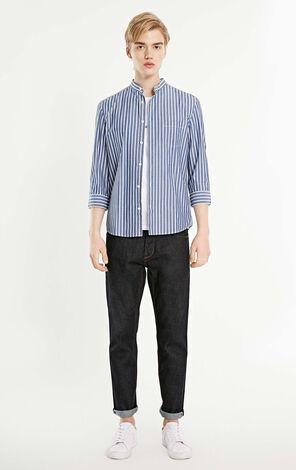 MLMR Men's 100% Cotton Letter Print Striped 3/4 Sleeves Shirt M|219131513