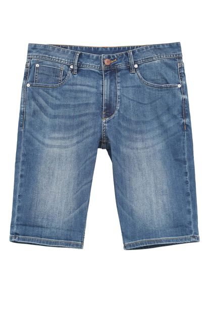 JackJones Men's Pure Color Whiskering Stretch Denim Shorts|219343504, Blue, large