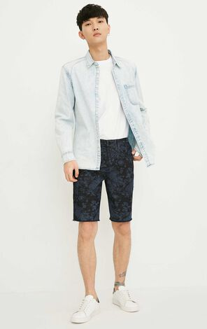 JackJones Men's Slim Fit Printed Raw-edge Denim Shorts J|218243504