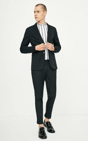 Men's Spring Cotton & Linen Slim Fit Long-sleeved Suit Jacket