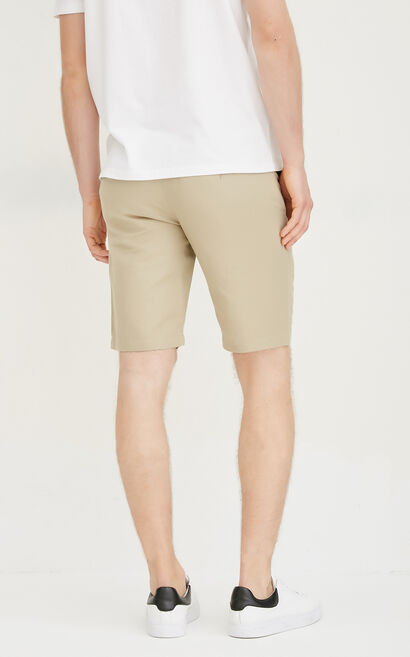 JackJones Men's Summer Straight Fit Cotton and Linen Pure Color Shorts E|217215507, Beige, large