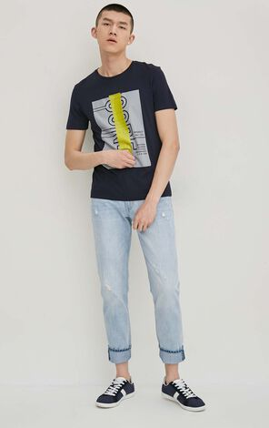JackJones Men's Spring 100% Cotton Heavily Washed Ripped Jeans| 217132548