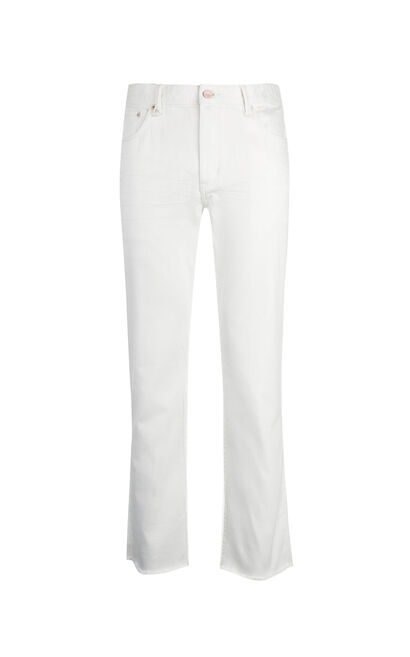 JackJones Men's Spring & Summer Stretch Raw-edge Low-rise White Crop Jeans| 217132579, White, large