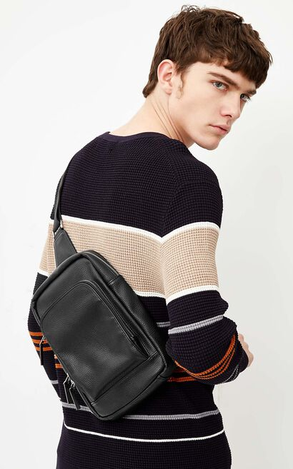 JackJones Men's Artificial Leather Zipped Single-shoulder Crossbody Bag E|218185511, Black, large