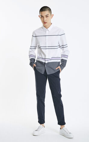 JACK JONES MEN'S WINTER COTTON STRAIGHT STRIPE CONTRAST COLOR SPLICING LONG SLEEVE SHIRT | 219105510