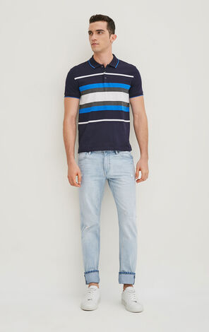 JackJones Men's Spring 100% Cotton Stripe Pattern Slim Fit Turn-down Collar T-shirt|217206501