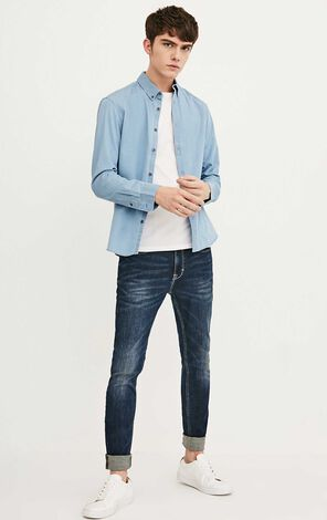 JACK JONES MEN'S FINE DENIM SHIRT | 218162509