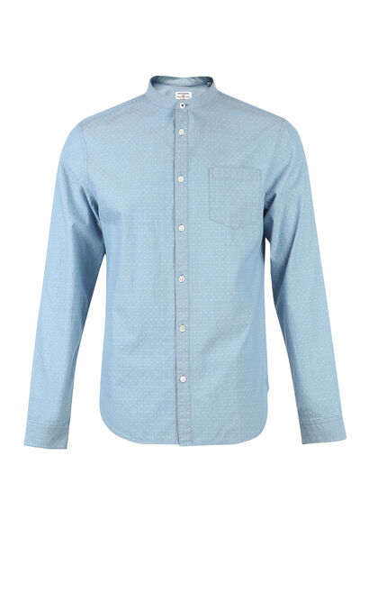 JackJones Men's Spring 100% Cotton Slim Fit Embroidered Stand-up Collar Long-sleeved Shirt|217105542, Blue, large