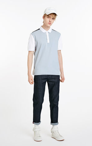 MLMR Men's Contrasting Splice Straight Fit Turn-down Collar Short-sleeved T-shirt M|219106531