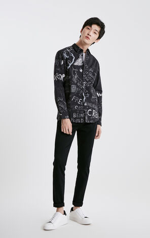 JackJones Men's Graffiti Print Turn-down Collar Long-sleeved Shirt C|219105519