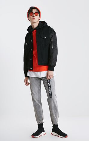 MLMR Men's Spring Letter Logo Spliced Denim Coat M|219157522
