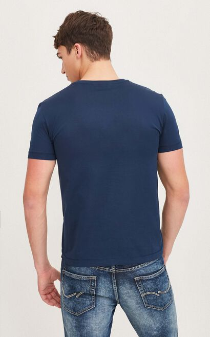 JackJones Men's Spring Slim Fit 100% Cotton 3D Letters Short-sleeved T-shirt|217101529, Blue, large