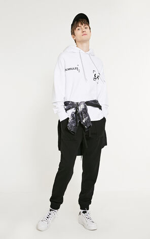 MLMR Men's 100% Cotton Letter Print Fake Two-piece Hoodie M|219133538