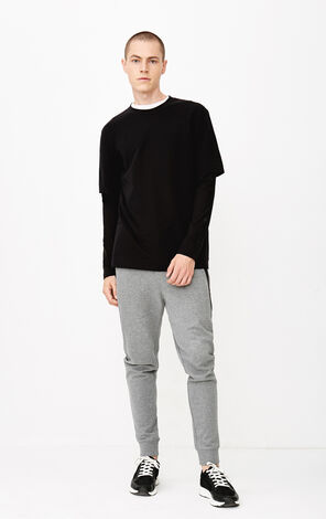 JACK JONES MEN'S AUTUMN COTTON DUMMY TWO-PIECE LONG-SLEEVED KNITTED T-SHIRT | 218302502