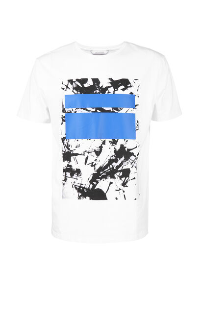 JackJones Men's Spring 100% Cotton Slim Fit Abstract Print Round Neckline Short-sleeved T-shirt| 217101528, White, large