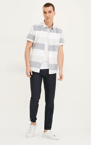 JackJones Men's Summer Contrasting Stripes Cotton and Linen Regular Fit Pointed Collar Short-sleeved Shirt|217204504