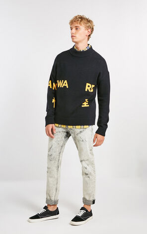 MLMR Men's Contrasting Letter Print Wool-blend Knitted Sweater M|218324555