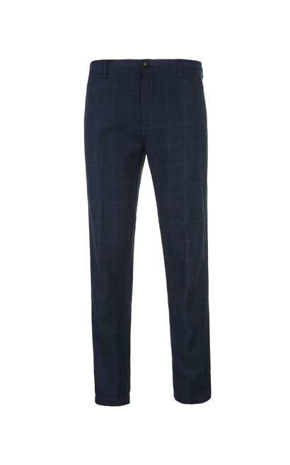 JackJones Men's Spring Cotton and Linen Plaid Tapered Pants|217114534, Blue, large