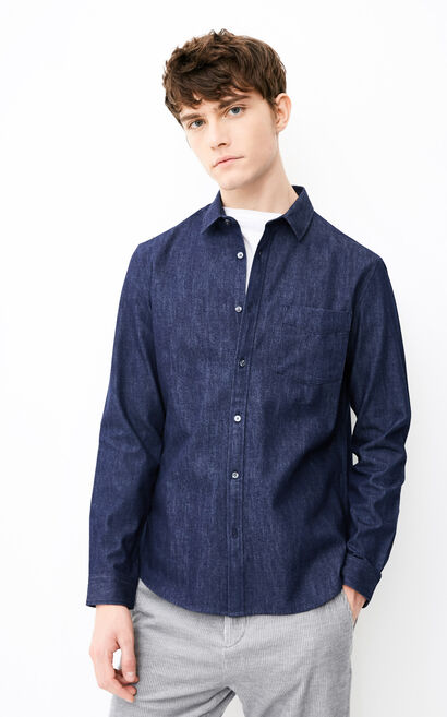 JACK JONES MEN'S TRAIN DENIM LONG-SLEEVED SHIRT (REGULAR FIT) | 218162502, Blue, large