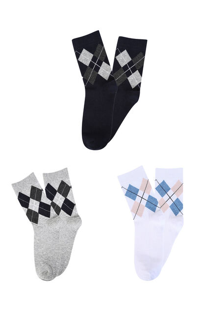 E 3-PACK EDINBURGH LONG SOCKS, Dark blue, large
