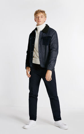 MLMR Men's Autumn 100% Cotton Spliced Denim Biker Jacket M|218309532