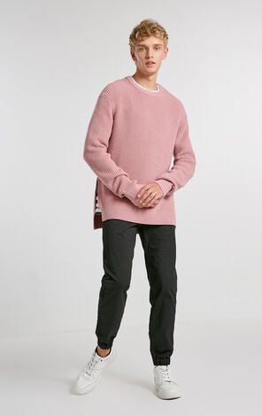 MLMR Men's Winter Wool-blend Pure Color Slit Round Neckline Knitted Sweater  218425502