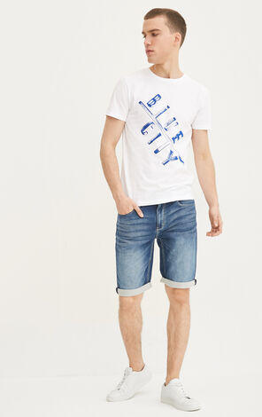JackJones Men's Summer 100% Cotton Slim Fit Letter Print Short-sleeved T-shirt|217201512