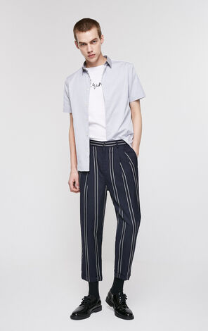 JackJones Men's Summer Wool-blend Linen Loose Fit Striped Crop Pants|219214527