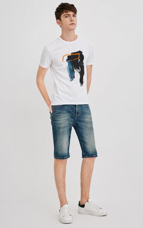 JackJones Men's Slim Fit Stretch Cotton Tight-leg Denim Shorts J|218243511